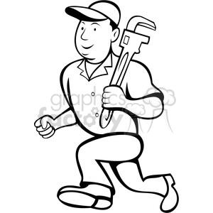 black and white plumber with wrench clipart. Commercial use image # 388473