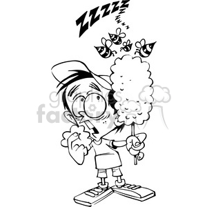 kid eating cotton candy in black and white clipart. Royalty-free image # 388483