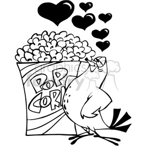pigeon in love with a box of popcorn in black and white clipart. Commercial use image # 388503