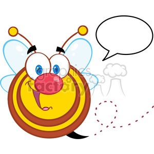 5582 Royalty Free Clip Art Cute Honey Bee Cartoon Mascot Character With Speech Bubble clipart. Royalty-free image # 388663