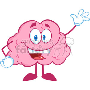 5808 Royalty Free Clip Art Happy Brain Cartoon Character Waving For Greeting clipart. Royalty-free image # 388713