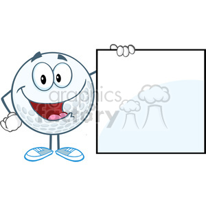5719 Royalty Free Clip Art Happy Golf Ball Cartoon Character Showing A Sign clipart. Royalty-free image # 388723