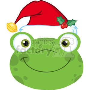 5654 Royalty Free Clip Art Cute Frog Smiling Head With Santa Hat clipart. Royalty-free image # 388745