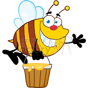 5577 Royalty Free Clip Art Smiling Bee Flying With A Honey Bucket And Waving For Greeting clipart. Commercial use image # 388755