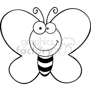 5611 Royalty Free Clip Art Smiling Butterfly Cartoon Mascot Character clipart. Royalty-free image # 388775