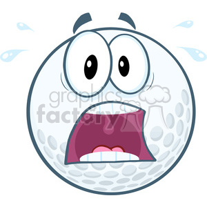 5703 Royalty Free Clip Art Panic Golf Ball Cartoon Mascot Character