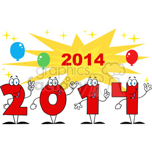 5668 Royalty Free Clip Art 2014 Year Cartoon Character With Stars And Balloons clipart. Royalty-free image # 388804