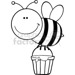 5601 Royalty Free Clip Art Smiling Bee Flying With A Honey Bucket clipart. Royalty-free image # 388824