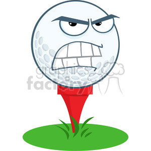 5708 Royalty Free Clip Art Angry Golf Ball Over Tee clipart. Royalty-free image # 388844