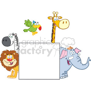 Safari Animals Behind A Blank Sign clipart. Commercial use image # 388853