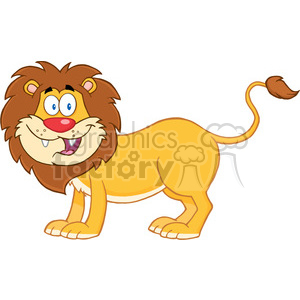 5632 Royalty Free Clip Art Happy Lion Cartoon Mascot Character