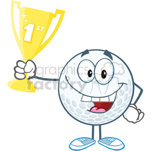 5736 Royalty Free Clip Art Happy Golf Ball Holding First Prize Trophy Cup clipart. Royalty-free image # 388875