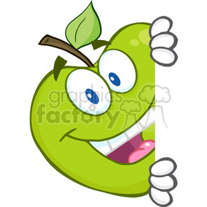 5800 Royalty Free Clip Art Smiling Green Apple Hiding Behind A Sign clipart. Royalty-free image # 388885