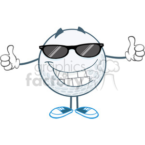 5740 Royalty Free Clip Art Smiling Golf Ball With Sunglasses Giving A Thumb Up clipart. Commercial use image # 388895