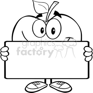 5968 Royalty Free Clip Art Smiling Apple Character Holding A Banner clipart. Royalty-free image # 388915