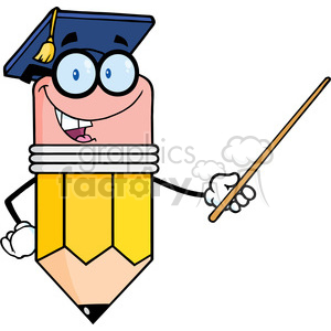 5898 Royalty Free Clip Art Smiling Pencil Teacher With Graduate Hat Holding A Pointer clipart. Commercial use image # 388925