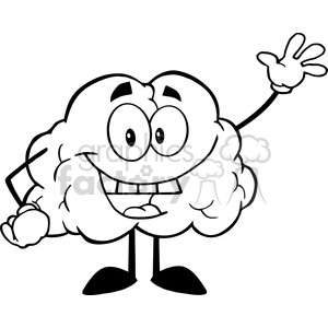5973 Royalty Free Clip Art Happy Brain Cartoon Character Waving For Greeting clipart. Royalty-free image # 388935