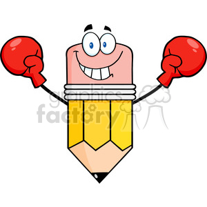 5932 Royalty Free Clip Art Smiling Pencil Cartoon Character Wearing Boxing Gloves clipart. Royalty-free image # 388945