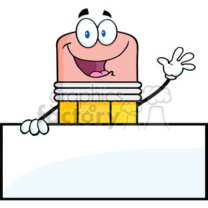 5874 Royalty Free Clip Art Happy Pencil Character Waving For Greeting Over Blank Sign clipart. Royalty-free image # 388955