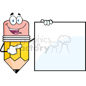 5904 Royalty Free Clip Art Happy Pencil Cartoon Character Showing A Blank Sign clipart. Royalty-free image # 389005