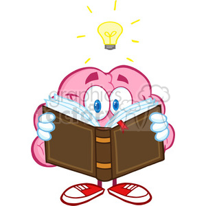 5841 Royalty Free Clip Art Smiling Brain Cartoon Character Reading A Book Under Light Bulb clipart. Commercial use image # 389025