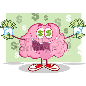 5832 Royalty Free Clip Art Money Loving Brain Cartoon Character clipart. Royalty-free image # 389035