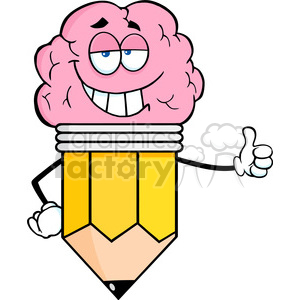 5924 Royalty Free Clip Art Clever Pencil Cartoon Character With Big Brain Giving A Thumb Up clipart. Commercial use image # 389055