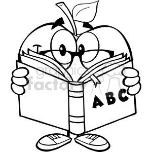 5956 Royalty Free Clip Art Smiling Apple Teacher Character Reading A Book clipart. Commercial use image # 389065