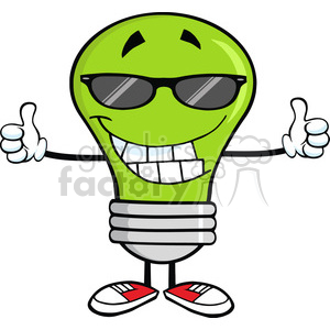 6088 Royalty Free Clip Art Smiling Green Light Bulb With Sunglasses Giving A Double Thumbs Up clipart. Royalty-free image # 389075