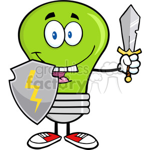 6029 Royalty Free Clip Art Green Light Bulb Guarder With Shield And Sword1 clipart. Commercial use image # 389085