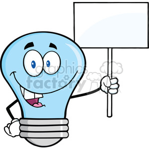 6140 Royalty Free Clip Art Blue Light Bulb Cartoon Character Holding Up A Blank Sign clipart. Commercial use image # 389095