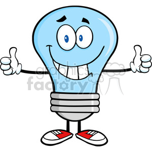 6068 Royalty Free Clip Art Smiling Blue Light Bulb Cartoon Character Giving A Double Thumbs Up clipart. Royalty-free image # 389105