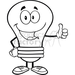 6042 Royalty Free Clip Art Light Bulb Cartoon Mascot Character Giving A Thumb Up clipart. Royalty-free image # 389115