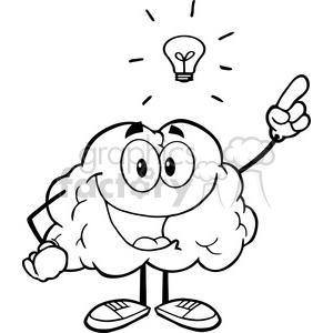 royalty free 5999 royalty free clip art happy brain character with a rh graphicsfactory com Free Brain Graphics free brain clipart black and white