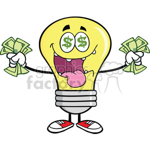 6052 Royalty Free Clip Art Money Loving Light Bulb Cartoon Character clipart. Royalty-free image # 389145