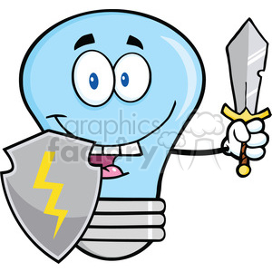 6118 Royalty Free Clip Art Blue Light Bulb Guarder With Shield And Sword clipart. Commercial use image # 389165