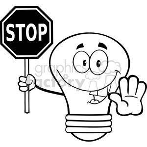 6141 Royalty Free Clip Art Light Bulb Cartoon Character Holding A Stop Sign clipart. Royalty-free image # 389175