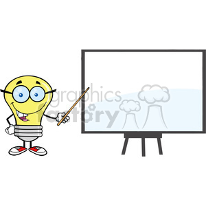 6098 Royalty Free Clip Art Ligt Bulb Presenting On A Board clipart. Commercial use image # 389185