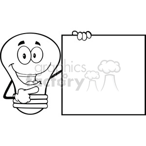 6105 Royalty Free Clip Art Happy Light Bulb Cartoon Mascot Character Showing A Blank Sign clipart. Royalty-free image # 389205