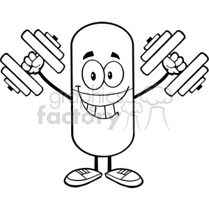 6303 Royalty Free Clip Art Black and White Pill Capsule Character Training With Dumbbells clipart. Royalty-free image # 389245