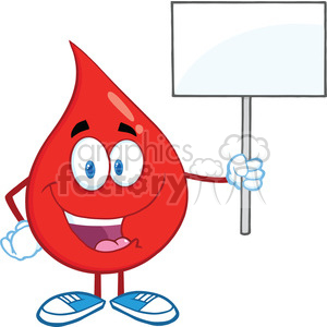 6203 Royalty Free Clip Art Happy Red Blood Drop Character Holding Up A Blank Sign clipart. Commercial use image # 389255