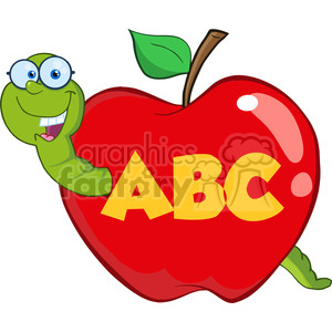 6246 Royalty Free Clip Art Happy Worm In Red Apple With Glasses And Leter ABC clipart. Royalty-free image # 389265