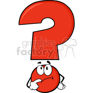 6267 Royalty Free Clip Art Red Question Mark Cartoon Character Thinking clipart. Commercial use image # 389285
