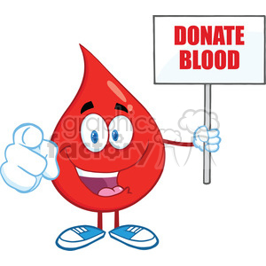 6204 Royalty Free Clip Art Happy Red Blood Drop Character Holding Up A Blank Sign With Text clipart. Commercial use image # 389295