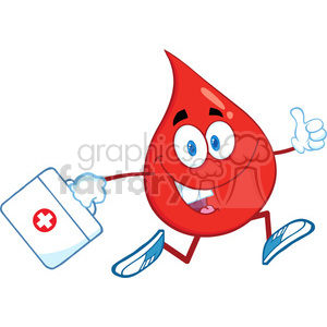 6181 Royalty Free Clip Art Smiling Red Blood Drop Character Running With A Medicine Bag