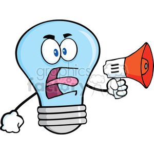 6149 Royalty Free Clip Art Angry Blue Light Bulb Cartoon Character Screaming Into Megaphone clipart. Royalty-free image # 389325