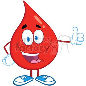 6192 Royalty Free Clip Art Red Blood Drop Character Giving A Thumb Up clipart. Royalty-free image # 389335