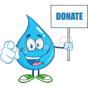 6238 Royalty Free Clip Art Water Drop Character Holding Up A Blank Sign With Text clipart. Royalty-free image # 389345