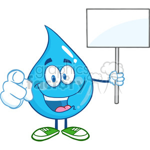 Water Drop Character Holding Up A Blank Sign clipart. Royalty-free image # 389355