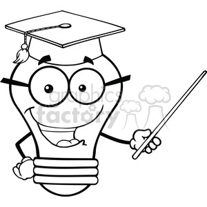 6156 Royalty Free Clip Art Smiling Light Bulb Teacher Character With A Pointer clipart. Royalty-free image # 389375